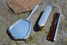 Art Deco solid silver vanity grooming set comb brush mirror