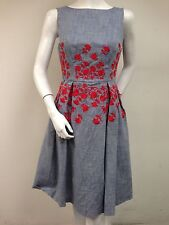 Maggy London Chambray 100% Cotton Red Floral Embroidered Sheath Dress Sz 4 New