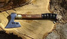 NEW MINI VIKING HAND FORGED AXE, HATCHET WITH BRASS CAST THOR HAMMER MEDALLION