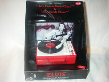 ELVIS PRESLEY THE KING ANIMATED ORNAMENT WITH MUSIC SONG & LIGHTS RECORD PLAYER