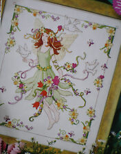 "Lesley Teare ""Fairy and Doves"" Counted Cross Stitch Pattern Flowers Ribbons"