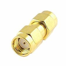 RP SMA Plug to RP SMA Plug with female pin RF Coaxial Connector - Gold Tone USA