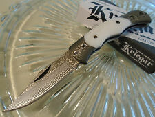 "Kriegar Genuine White Pearl Damascus Lockback Gents Fancy Pocket Knife 5 1/2"" Op"