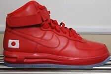 New Nike Air Force 1 High iD Red October with clear bottoms. Japan flag. Sz 9