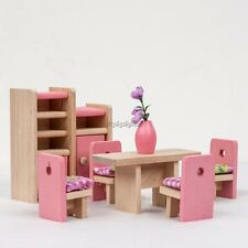 Children Wooden Furniture Dolls House Miniature Dinning room Set Learn Toys 35DI