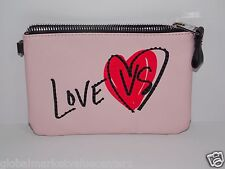 Victorias Secret SEXY LOVE VS LIGHT PINK WITH HEART  Clutch Wallet Purse Bag New