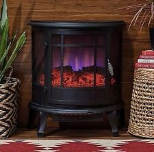 Electric Stove Heater Portable Fireplace Infrared Heat Black Free Standing Space