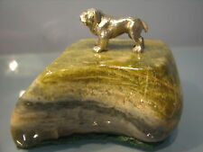 Silver miniature bulldog on veined green stone plinth  paperweight 1911