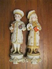 "RARE 12"" Kate Greenaway Boy Girl bisque figurines doll perfect condition pair"
