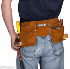 11 Pocket WESTERN SAFETY TOOL BELT/ GENUINE Brown LEATHER/ HARBOR FREIGHT TOOLS