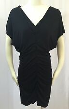 NWT Casting Fashions Women's Double V-Neck Ruched Dolman Sleeves Black Dress L 3