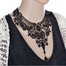 Black Lace Oval CZ Beads Choker Necklace Lady Victorian Steampunk Collar Jewelry