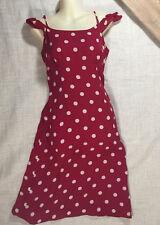 INC International 100% Silk Cream Red Polka Dot Retro Ruffle Rockabilly Dress 6