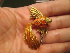 WONDERFUL Metallic Enameled Gold Fish Figural Vintage Boucher Brooch
