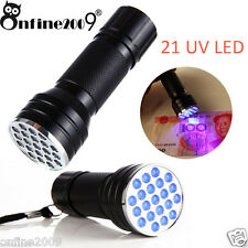 21 LED 395 NM UV Ultra Violet Blacklight Flashlight For CSI Inspection Light NEW