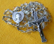 ANTIQUE FRENCH STERLING SILVER & ROCK CRYSTAL BEADS  ROSARY / chapelet cristal
