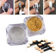 Gold Silver Mirror Powder Chrome Pigment with Brushes DIY Nail Art Decoration