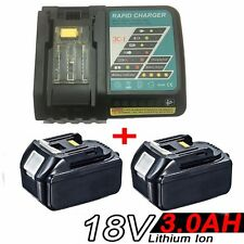 2x 3.0AH 18V Battery for Makita BL1830 BL1815 LXT400 BJS Li-Ion+Rapid Charger
