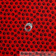 BonEful FABRIC FQ Cotton Quilt Red Black Calico Cat Dog Puppy Paw Print Tiny Dot