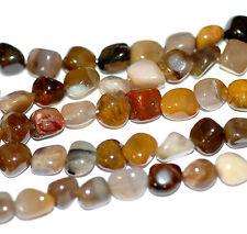 Brasilianischer Holzachat polierte Nuggets ~8mm, 1 Strang Perlen Edelsteine