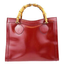 Authentic GUCCI Logos Bamboo Hand Bag Leather Red Made In Italy 62P542