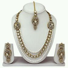 TraditionaI Indian GoldPlated Diamond&kundan Necklace Earring Tika Jewelery Set