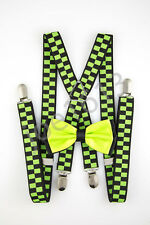 Neon Lime Center Black Back Bow Tie Lime Green Black Suspender Set SDBT138