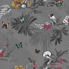 Arthouse Imagine Mystical Forest Slate Wallpaper 664800 Glitter Tropical Birds