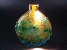 Big Antique Old Chinese Peking Glass Carved Snuff Bottle CRANES LOTUS AUSPICIOUS