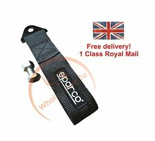 Black SPR tow strap universal JDM racing belt recovery hook TRS, OMP