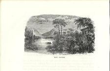 Stampa antica LAGO di GARDA veduta panoramica 1885 Old antique print