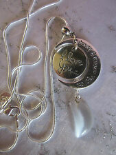 """STERLING SIL 24"""" CHAIN, Lv U To Moon& Back/ Moonstone NECKLACE+Earings/box"""