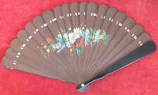 ancien éventail bois noir peint decor floral fan