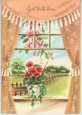 VINTAGE GERANIUM FLOWERS FARM HOUSE CURTAIN WINDOW PRINT 1 TEDDY BEAR DRESS CARD