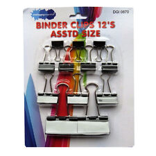 Metal Fold Back Binder Clips - Pack of 12 - Assorted Sizes