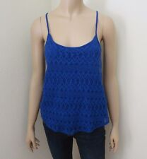 Hollister Womens Lace Crochet Tank Top Size XS Cami Royal Blue Shirt