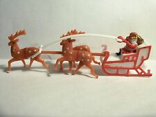 1 Santa & Sleigh Sled & 3 Reindeer Flying Cake Decoration Topper Christmas