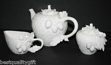 3 PC SET GRACE WHITE 3D STRAWBERRY TEA WARE+COFFEE POT,TEAPOT,CREAMER,SUGAR HOLD