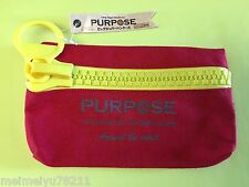 Daiso Japan Purpose Unique Super Large Zipper Canvas Pencil Case Bag Yellow/Red