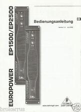 Behringer ep1500 ep2500 Amp Deutsch German USER OWNER MANUAL Bedienungsanleitung