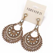 NWT Forever 21 Goddess Crescent Clear Rhinestone Teardrop Chandelier Earrings