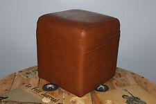 Vintage - Ancien pouffe Pouf carré - Cube - Skaï marron - Tabouret seventies N°3