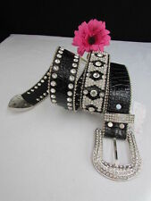 "Women Black Leather Western Mini Bows Rhinestones Belt Big Buckle 34""-39"" L"