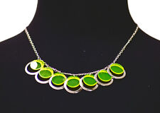 CONTEMPORARY LIME GREEN AND SLIVER CYLINDER NECKLACE W CLASP FEATURE (ZX52)