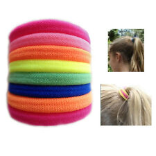 8* Colourful Hair Bobbles Pony Tail Bands Elastic Florescent Colours Soft