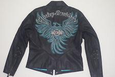 Harley Davidson Women ARABELLE Leather Jacket Turquoise Eagle 97173-07VW XS RARE
