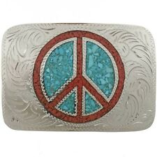 Turquoise Coral Peace Sign Belt Buckle 3 Sizes To Choose From