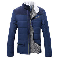 Winter Men's Warm Fleece Padded Jacket Coat Slim Collar Trench Parka Outwear M L