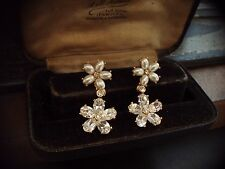 Vintage Jewellery Pearl & Crystal Rhinestone Flower Drop Pierced Earrings