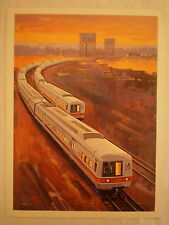 VINTAGE NEW HAVEN CT METRO-NORTH TRAIN by HARBOR JOHN GOULD LITHOGRAPH ART PRINT